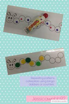 Can do caterpillar Bingo. Make caterpillars with letters in body. Whoever fills their caterpillar first, wins. Maths Eyfs, Math Literacy, Preschool Classroom, Eyfs Activities, Nursery Activities, Maths Day, Maths Area, Caterpillar Craft, Hungry Caterpillar