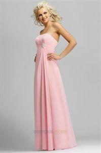Light pink strapless long chiffon bridesmaid dresses $100.00