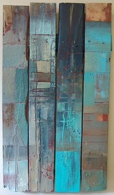 """Micki Buksar Cecil """"Fenced Out"""" 2009 Encaustic. Mixed Media on fence. 40"""" x 23"""" x 2.5"""" SOLD"""