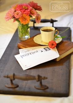 Breakfast In Bed Tray  Wooden Serving Tray by ChurchStDesigns