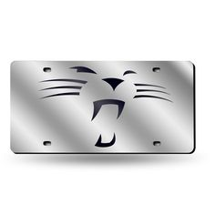 """Carolina Panthers """"""""Whiskers"""""""" Laser Cut License Plate - Silver Mirror"""