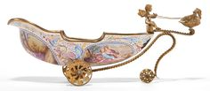 A VIENNESE ENAMEL ON COPPER CARRIAGE-FORM BOWL Circa 1880