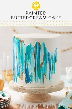 Edible Cake Paint Cake Blue, teal and white splashes of icing combined with glints of gold cake paint turn this towering white cake into a true work of art. Pretty Cakes, Cute Cakes, Beautiful Cakes, Amazing Cakes, Beautiful Cake Designs, Wilton Cakes, Cupcake Cakes, Baby Cakes, Cake Cookies