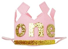 PoshPeanut One Baby Girls Felt Birthday Party Crown Hat Baby Kid to Toddler Size Pink >>> You can get additional details at the image link.