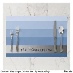 Gradient Blue Stripes Custom Text Silver Banner Paper Placemat Family Events, Placemat, Gradient Color, Blue And Silver, Blue Stripes, Red Roses, Best Gifts, Banner, Gift Ideas