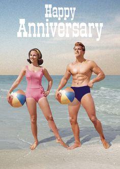 Happy Anniversary Beachball Couple Greeting Card by Max Hernn