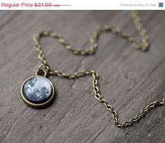 Full Moon necklace - Tiny pendant - Space jewelry - Midnight (N083). $17.85, via Etsy.