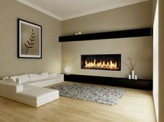 a long gas fireplace | Gas Fireplace--horizontal, long hearth