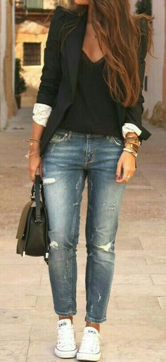 f1bcd84f3d94f Consider wearing a black blazer jacket and blue distressed jeans to create  a chic, glamorous look. White low top sneakers will add some edge to an  otherwise ...