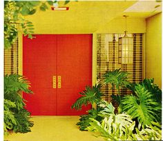 Great example of a mid-century home entrance...love the plants!