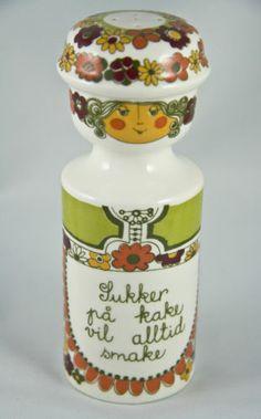 Figgjo Flint Folklore Sugar Sukker Shaker Norway Mid Century Figural Floral Turi