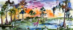 """""""Wetland Landscape Spoonbill Panoramic Watercolor"""" by Ginette Callaway, Georgia // Watercolor painting.  if you are interested in the original or in commissions please contact me at ginette@ginettefineart.com // Imagekind.com -- Buy stunning, museum-quality fine art prints, framed prints, and canvas prints directly from independent working artists and photographers."""