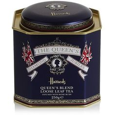 Queen's Blend loose leaf tea by Harrods for the Diamond Jubilee.  I have a similar tin from biscuits for her coronation - my Mum used it as her button tin.