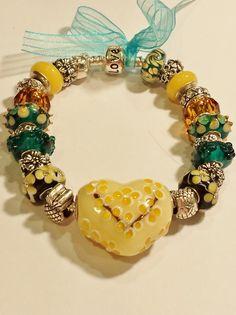 European Bead Bracelet, Large Heart Bead Teal & Yellow Cream Charm Bracelet by ThemeBraceletGal on Etsy
