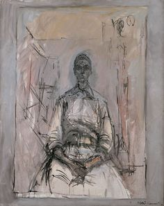 """Alberto Giacometti: Aïka """" As in the late works of Matisse and Picasso, here too one can observe the artist's endeavour to create a symbiosis of drawing, painting and sculpture. Alberto Giacometti, Museum Exhibition, Art Museum, Giacometti Paintings, Art Paintings, Figure Drawing, Painting & Drawing, Figurative Kunst, Plastic Art"""
