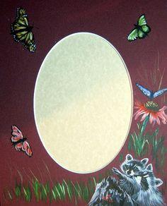 """SOLD~~raccoons & butterflies~~hand painted 8"""" x 10"""" photo mat"""