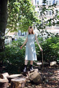 Vintage Sky-Blue Polka Dot Midi Dress  http://www.thewhitepepper.com/collections/vintage-dresses/products/vintage-sky-blue-polka-swing-dress