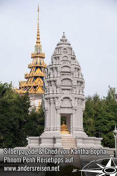 Die Silberpagode und der Chedi von Kantha Bopha sind nur zwei der besonderen Sehenswürdigkeiten in Phnom Penh. Du suchst  Sehenswürdigkeiten Tipps für Phnom Penh, Kambodscha? Dann hole Dir die Reisetipps im Blogbeitrag. #kambodscha #reisetipps #sehenswürdigkeiten #phnompenh Phnom Penh, Laos, Angkor Wat, Barcelona Cathedral, Asia, Wanderlust, Building, Highlights, Happiness