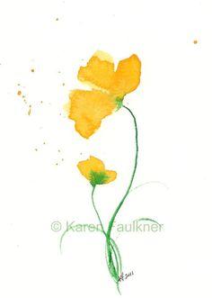 Duet yellow watercolor flowers giclee fine art by karenfaulknerart, $15.00