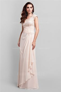 A-Line/Princess Scoop Floor-length Chiffon Mother of the Bride Dress