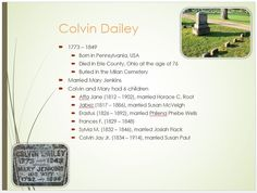 Dailey Family Tree - page 5  Colvin Dailey 1773 - 1849