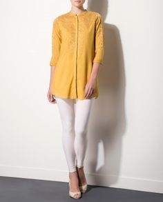 Camel Textured Tunic with Applique Work