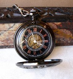 Pocket Watch  Art Nouveau New Orleans Black by theDeerCreekHouse, $42.50