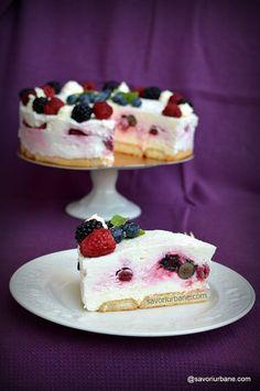 Tort cu fructe de pădure - cheesecake fără coacere - o rețetă simplă | Savori Urbane Flan, Parfait, Tiramisu, Cheesecake, Cakes, Cooking, Desserts, Pies, Cream