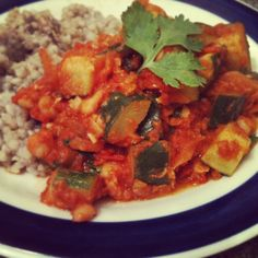 Spiced tomato, chickpea & zucchini with steamed buckwheat. Vegan and ...