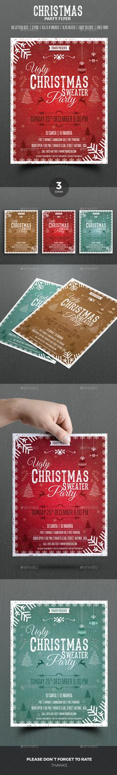 US LETTER SIZE Christmas Flyer Template  Premade Color Versions Flexible, download and edit options. Available https://graphicriver.net/item/christmas-flyer/18121293?ref=themedevisers