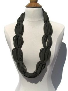 Military Olive Green Upcycled Infinity Loop Chain T shirt Scarf / Necklace by ArtTx, $10.00
