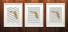 Orlando, Central Florida State Set of Three Giclée Prints - 8x10 - Old Gold and Gray University Print