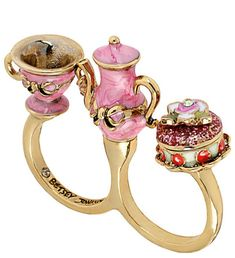 Betsy Johnson teacup triple ring.
