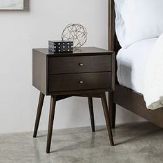 Modernist Wood + Lacquer Nightstand - Winter Wood | west elm