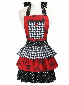 Red Bows Pattern & Houndstooth Apron Handmade Three Ruffle Pam