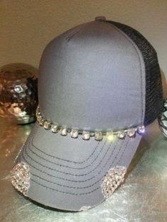 Custom Envy Gray Black Rhinestone Bling Distressed Trucker Hat Cap Unique  Hot  25ad4e4bca5