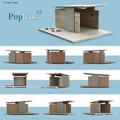 Puphaus renderings from all angles ganged IIHIH Modern Dog Houses, Cool Dog Houses, Luxury Dog House, Dog House Plans, Dog Furniture, Tiny House Cabin, Cat Condo, Pet Home, Animal House