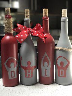 OSU wine bottle decor Wine Bottle Art, Diy Bottle, Wine Bottle Crafts, Jar Crafts, Yule Crafts, Holiday Crafts, Christmas Ideas, Xmas, Recycled Glass Bottles