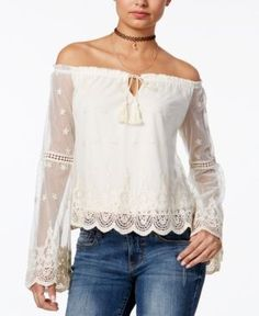 American Rag Off-The-Shoulder Peasant Top, Only at Macy's - Tan/Beige XXL