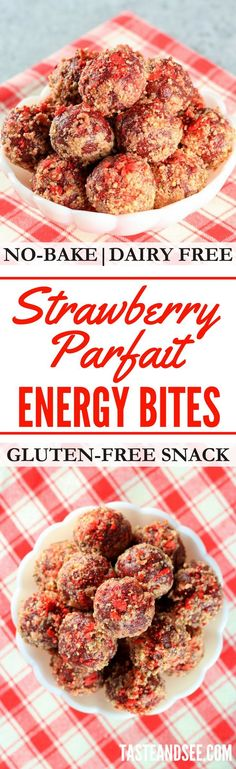 Strawberry Parfait Energy Bites | No-bake | Gluten-free | Valentine's | http://tasteandsee.com