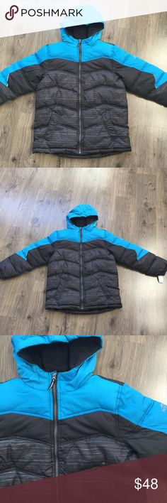 Warm Jacket Thicker puffer coat. The first half is fleece. There is an inside pocket for a phone or wallet. The shell, lining, and filler is 100% polyester. The jacket is waterproof. Size 18-20 boys. New with tags! Pacific Trail Jackets & Coats Puffers
