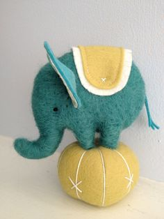 needle felted circus elephant. via Etsy.