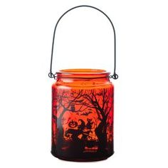 Large Glass Lantern Witch and Spooky Scene Halloween Decoration @ Papyrus