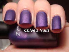 Matte purple nails.