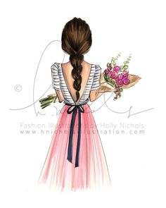 Items similar to Bouquet (Choose your hair color, Fashion Illustration Print) on Etsy Illustration Mode, Fashion Art, Fashion Design, Colorful Fashion, Fashion Sketches, Your Hair, Creations, Hair Color, Girly