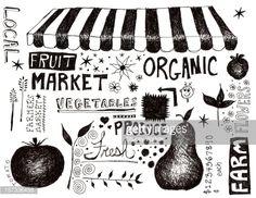 ストックイラストレーション : market doodles