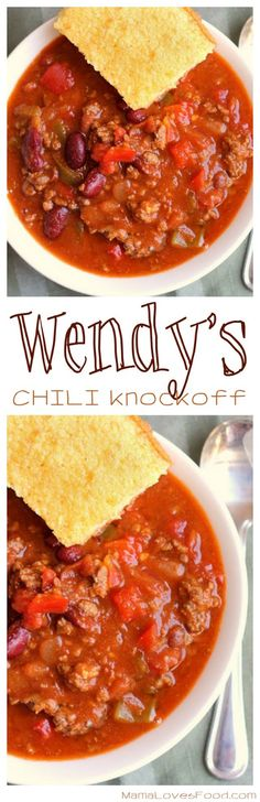 : Chili {Wendy's Style} came out awesome! recipe, bush's mixed chili beans in mild sauce instead of ranch style beans Chili Recipes, Copycat Recipes, Slow Cooker Recipes, Crockpot Recipes, Soup Recipes, Dinner Recipes, Cooking Recipes, Cake Recipes, Copycat Wendy's Chili