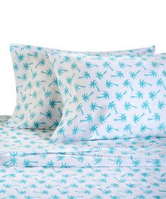This Aqua Palm Beach Sheet Set is perfect! #zulilyfinds