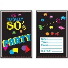 Totally 80's Invitations - Pack of 8 - 80's Party Decoration Ideas