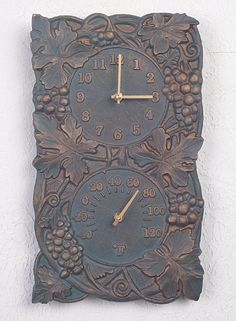 Verdigris Grapevine Combination Outdoor Clock and Thermometer